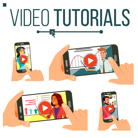 Video Tutorial Set Vector. Streaming Video. Online Education. Study And Learning Background. Business Concept. Internet Services. Webinar. Mobile. Online Screen With Player. Flat Illustration