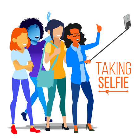 Girls Taking Selfie Vector. Photo Portrait Concept. Self Camera. Modern Flat Isolated People Illustration