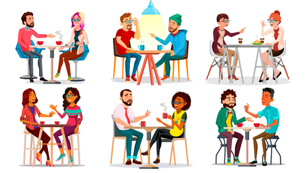 Friends In Cafe Vector. Man, Woman, Boyfriend, Girlfriend. Sitting Together And Drinking Coffee. Bistro, Cafeteria. Restaurant. Communication Breakfast Concept Cartoon Illustration