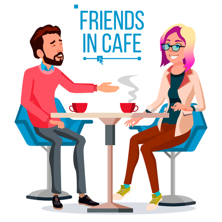 Coppia nel ristorante vettore. Amici o fidanzato, fidanzata. Uomo e donna. Seduti Insieme E Bere Caffè. Illustrazione del fumetto isolato