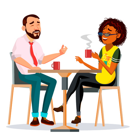 Couple In Restaurant Vector. Friends Or Boyfriend, Girlfriend. Man And Woman. Sitting Together And Drinking Coffee. Isolated Cartoon Illustration Standard-Bild - 121827360