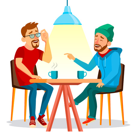 Two Man Friends Drinking Coffee Vector. Best Friends In Cafe. Sitting Together In Restaurant. Have Fun. Communication Breakfast Concept. Isolated Flat Cartoon Illustration