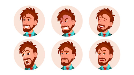 Man Avatar People Vector. Icon Placeholder. European Person Shilouette. Various Emotions. Scared, Aggressive. User Portrait. Flat Character Illustration