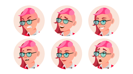 Woman Avatar People Vector. Facial Emotions. Emo, Freak Hairstyle. Pink. User Person. Beauty Lady. Happy, Unhappy. Expressive Picture Isolated Flat Cartoon Illustration