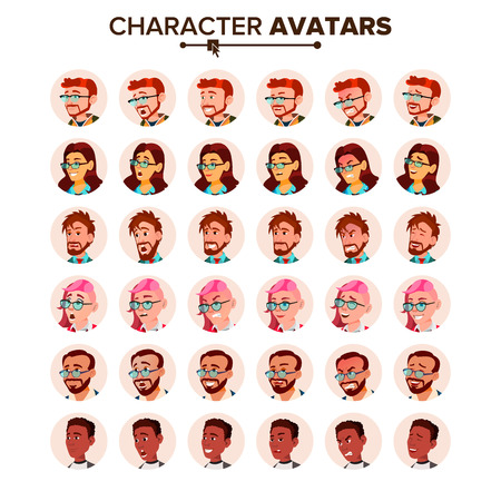 People Avatar Set Vector. Man, Woman. Human Emotions. Anonymous Male, Female. Icon Placeholder. Person Shilouette. User Portrait. Comic Emotions. Handsome Manager. Flat Cartoon Character Illustration Standard-Bild - 102723625