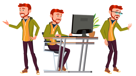 Office Worker Vector. Face Emotions, Various Gestures. Red Head, Ginger. Business Human. Smiling Manager, Servant, Workman Officer Flat Character Illustration