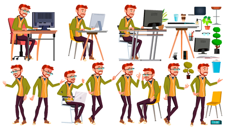Office Worker Vector. Face Emotions, Various Gestures. Businessman Person. Poses. Front, Side View. Office. Smiling Executive Servant Workman Officer Isolated Character Illustration