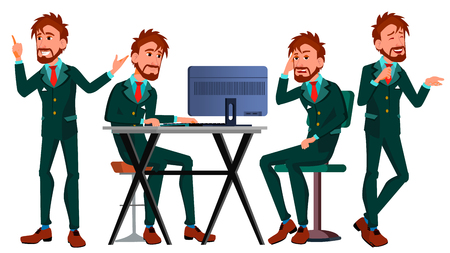 Office European Worker Vector. Face Emotions. Businessman Person. Poses. Front, Side View. Smiling Executive, Servant, Workman Officer Isolated Character Illustration