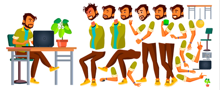 Office Worker Vector. Indian. Emotions, Gestures. Animation Creation Set. Lifestyle Generator. Business Person. Front, Side, Back View Career Modern Employee Workman Cartoon Illustration 向量圖像