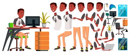 Vecteur d'employé de bureau. Ensemble de création d'animations. Le noir. Africain. Émotions, gestes. Éléments animés. Générateur de bureau. Homme d'affaires humain. Moderne Cabinet Employé Ouvrier Cartoon Illustration Vecteurs