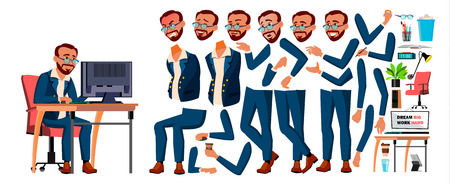 Office Worker Vector. Turkish. Turk. Animation Creation Set. Businessman Worker. Lifestyle Generator. Animated Elements. Front, Side View. Job Partner Clerk Employee Cartoon Illustration