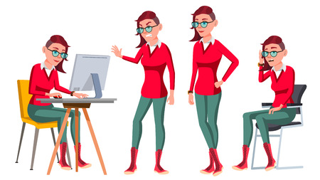 Office Worker Vector. Woman. Happy Clerk, Servant, Employee. Poses. Emo, Freak Business Woman Person Lady Emotions Gestures Flat Character Illustration