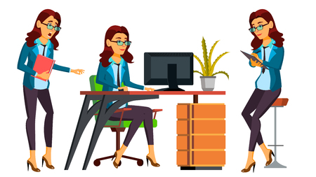 Office Worker Vector. Woman. Happy Clerk, Servant, Employee. Poses. Business Human. Face Emotions Gestures Secretary Isolated Character Illustration Vectores