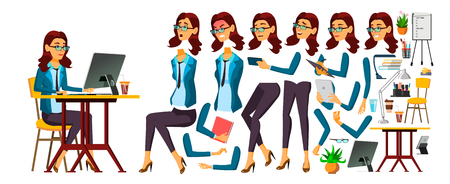 Office Worker Vector. Woman. Face Emotions, Various Gestures. Secretary, Accountant. Animation Creation Set Isolated Illustration