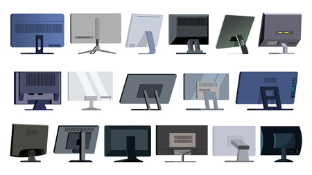 Monitor Set Vector. Modern Monitors, Laptop. Office, Home, Computer Monitors Screen, Digital Display. Different Types. Ultra HD Electronic PC Screen. Isolated Illustration
