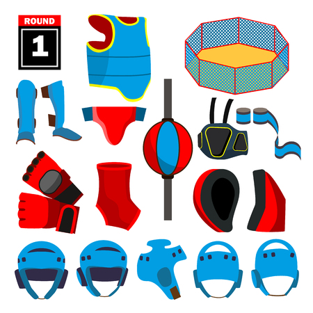 MMA Icons Set Vector. MMA Accessories. Round, Arena, Ring, Gloves, Helmet Belt Isolated Cartoon Illustration