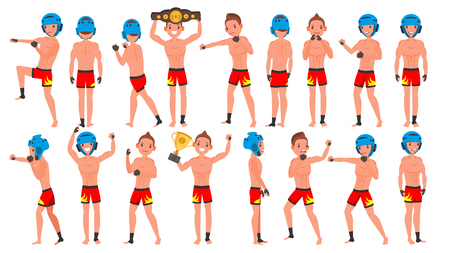 MMA Young Man Player Vector. Man. Fighters Fighting. Training Club. Poses Set. Flat Athlete Cartoon Illustration Vector Illustration
