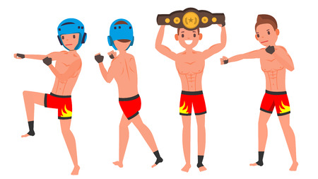 MMA Man Player Male Vector. Preparing For Training. Traditional Fighting Poses. Cartoon Athlete Character Illustration