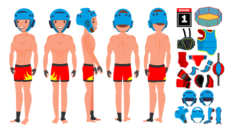 MMA Player Male Vector. Muay Thai Poses. Muscular Sports Guy Workout. Isolated Flat Cartoon Character Illustration