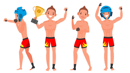MMA Male Player Vector. Fighting On Ring, Cage, Arena. Playing In Different Poses. Man Athlete. Isolated On White Cartoon Character Illustration Illustration