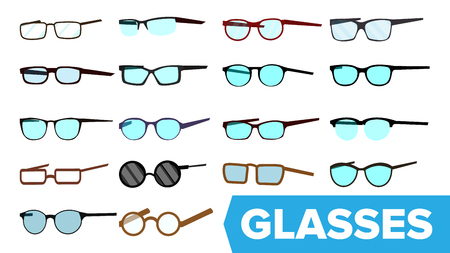 Glasses Set Vector. Modern Glasses Icon. Different Eyewear Types. Eyeglasses With Frame. Blue Lense. Cartoon Isolated Illustration