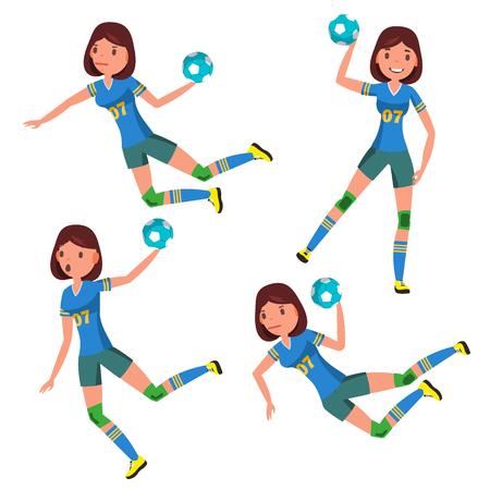 Piłka ręczna dziewczyna gracz wektor żeński. Mecz konkurencji. Bieganie, skakanie. Ilustracja postać sportowca kreskówka