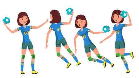 Handball Young Woman Player Vector. Girl Athlete. Throws Ball In Jump. Attack Figure. Flat Cartoon Illustration 写真素材 - 121825386