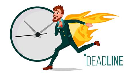 Vector de concepto de fecha límite. Triste empresario corriente en llamas. Desastres con fecha límite de carga de trabajo. Fechas límite de trámites administrativos. Ilustración de dibujos animados aislado