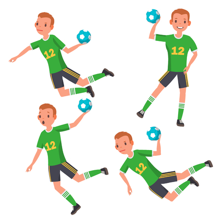 Handball Young Man Player Vector. Man. Sport Event. Energy, Aggression. Flat Athlete Cartoon Illustration