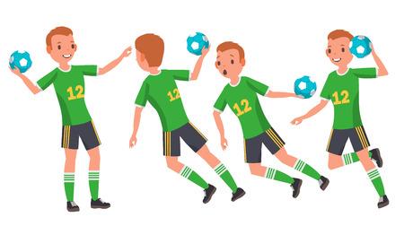 Handball-männlicher Spieler-Vektor. Angriffssprung. Spieler schießen. Spielen in verschiedenen Posen. Mann Athlet. Isoliert auf weißem Cartoon-Charakter-Illustration Vektorgrafik