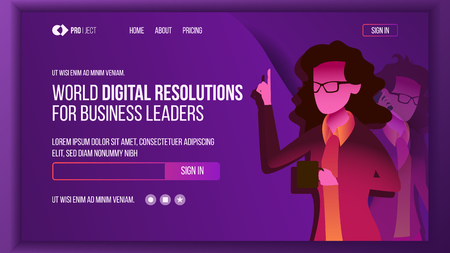 Business Landing Page Vector. Investment Webpage. Woman. Solution Concept. Commercial Illustration