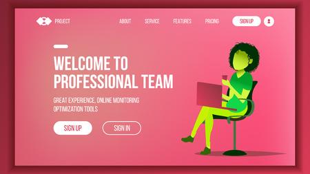 Landing Web Page Design Vector. Website Business Concept. Shopping Online Web Design And Development. Future Gadget. Global Investment. Global Monitoring. Illustration Stock Illustratie
