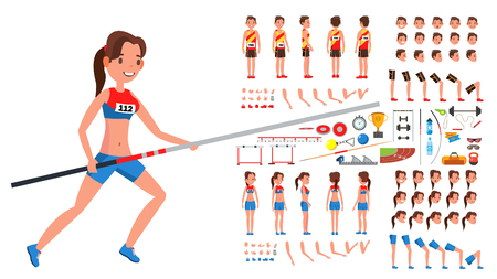 Athletics Player Male, Female Vector. Athlete Animated Character Creation Set. Man, Woman Full Length, Front, Side, Back View, Accessories, Poses, Face Emotions Gestures Cartoon Illustration
