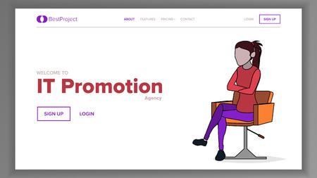 Modern Landing Page Concept Vector. Woman. Line. Main Website Page Design. Consumerism Template Illustration