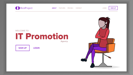 Modern Landing Page Concept Vector. Woman. Line. Main Website Page Design. Consumerism Template Illustration