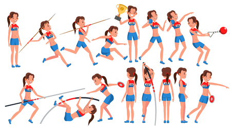 Athletics Female Player Vector. Win Concept. Various. Race Competition. Hurdle long Jump. In Action. Cartoon Character Illustration