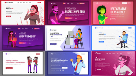 Main Web Page Design Vector. Website Business Screen. Landing Template. Innovation Idea. Office Investment Webpage. Progress Report. Illustration