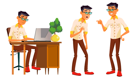Office Worker Vector. Thai, Vietnamese. Facial Emotions, Gestures. Business Person. Poses. Animated Elements. Career. Modern Employee Workman Laborer Isolated Flat Cartoon Character Illustration Illustration