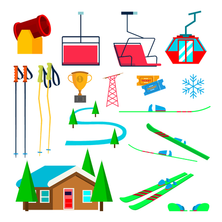 Skiing Icons Set Vector. Skiing Accessories. Skis, Snow Gun, Snowflake, Lift, Elevator, Mountains, Winter Sport Glasses Isolated Flat Illustration