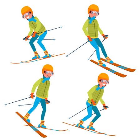 Skiing Man Male Vector. Skiing Sportsman. Season And Mountain. Cartoon Character Illustration