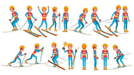 Skiing Young Man Player Vector. Man. Ski Resort. Skiing In The Mountains. Flat Athlete Cartoon Illustration Ilustracja
