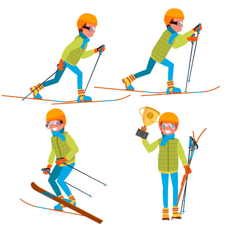 Skiing Male Vector. With Goggles And Ski Suit. Skiing In Winter. Isolated Flat Cartoon Character Illustration
