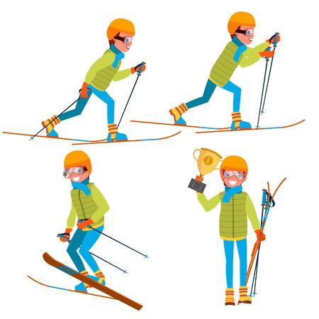 Skiing Young Man Vector. Man. Enjoying Snow Landscape. Skier And Snow. Flat Cartoon Illustration
