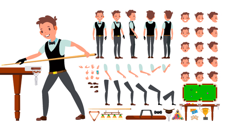 Snooker Player Male Vector. Animated Character Creation Set. Billiard. Man Full Length, Front, Side, Back View, Accessories, Poses, Face Emotions Gestures Isolated Illustration