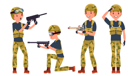 Soldier Male Vector. Poses. Silhouette. Playing In Different Poses. Man Military. War.Ready For Battle. Army. Isolated On White Cartoon Character Illustration 向量圖像