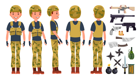 Soldier Male Vector. Poses. Silhouette. Playing In Different Poses. Man Military. War.Ready For Battle. Army. Isolated On White Cartoon Character Illustration 矢量图像