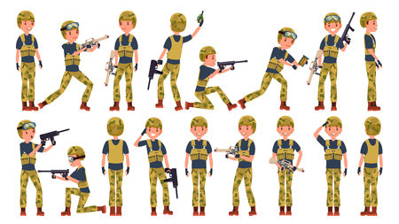 Soldier Man Set Vector. Poses. Army Person. Camouflage Uniform. Shooter. Saluting. Cartoon Military Character Illustration