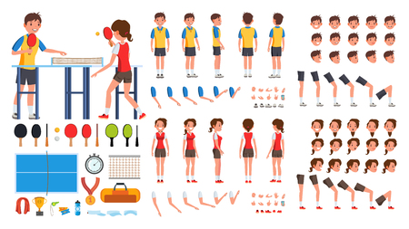 Table Tennis Player Male, Female Vector. Animated Character Creation Set. Man, Woman Full Length, Front, Side, Back View, Accessories, Poses, Face Emotions, Gestures. Isolated Flat Cartoon Illustration