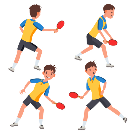 Table Tennis Male Player Vector. In Action. Twists The Ball. Cartoon Character Illustration