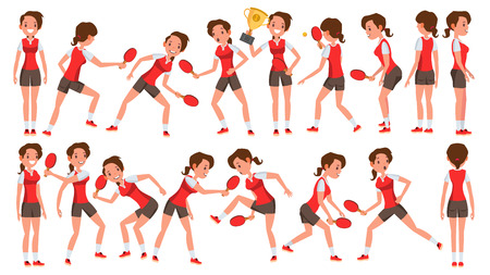 Table Tennis Female Player Vector. In Action. Sports Concept. Stylized Player. Cartoon Character Illustration